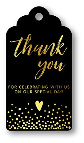 Black Wedding Favors - Summer-Ray 50pcs Gold Foil Hot Stamping Black Royale Thank You for Celebrating with Us Wedding Favor Gift Tags