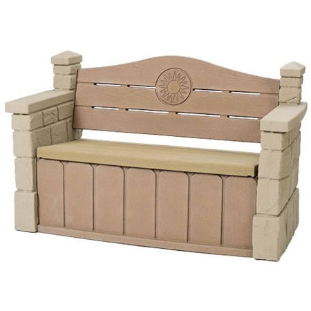 Comfortable Outdoor Storage Bench, Realistic Stone Texture that Blends in with Most Outdoor Decors Ideal for Storing Garden Equipment, Tools, Outdoor Toys and More by AVA Furniture (Image #2)