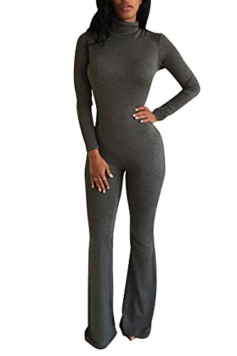 Pink Queen Women Long Sleeve Jumpsuit Fleece Lined Stretchy One Piece Jumper,Grey,Medium,Tag size: L (One Piece Jumper)