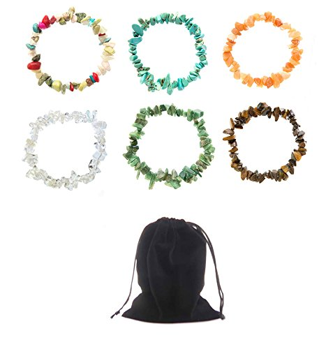 Semi Precious Nuggets (Frogsac 6 Pieces Semi-Precious Nugget Bracelets with Velvet Pouch (1))
