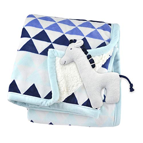 Just Born 2-Ply Suede Plush Blanket with Rattle, Blue, One Size