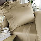 300 Thread Count California King Siberian Goose Down Comforter [650FP, 32-38 Oz] with 100% Natural Combed Cotton Plain - Solid Damask Cover - Tan (Beige)