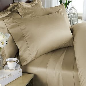 Beige Plain - Solid Queen Size Bed Sheet Set - 300 Thread 100% Natural Combed Cotton [Fitted Sheet + Flat Sheet + 4 pillowcases]