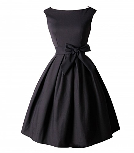 Tecrio Vintage Audrey Hepburn 1950's Boat Neck Solid Cocktail Party Swing Dress XXL Black
