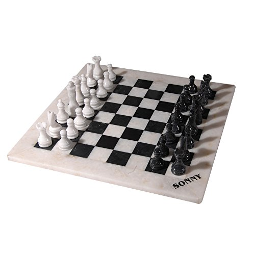 Polished Marble Chess Set, Hand-Carved Pieces and Board, Black and White