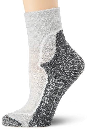 Icebreaker Women's Hike+ Lite Mini Sock, Blizzard/Black/Oil, Large