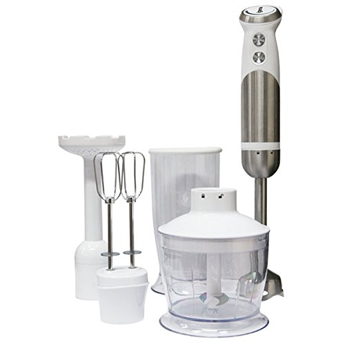 Igenix IG8654 Hand Blender with Beaker and Food Processor Bowl, 4-in-1 Immersion Blender with 2 Speeds and Turbo Button, Beater, Masher and Chopper Included, 800 W, White/Stainless Steel