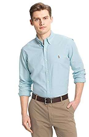 Polo Ralph Lauren Men's Long Sleeve Oxford Button Down Shirt , AEGEAN