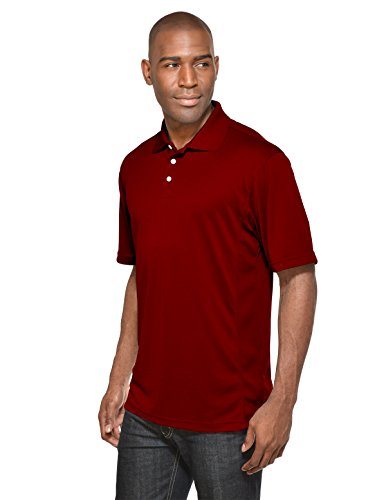 Maroon Striped Performance Polo - 3