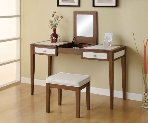 Contemporary Cherry & White Finish Vanity Set by Coaster Furniture