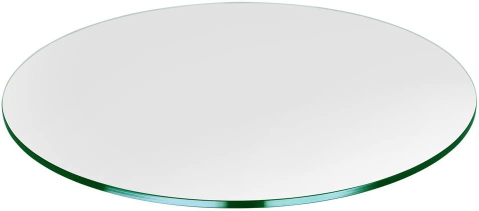 "Dulles Glass and Mirror Table Top, 1/4"" Thick, Flat Polish Edge, Tempered, Round, 33"" L"
