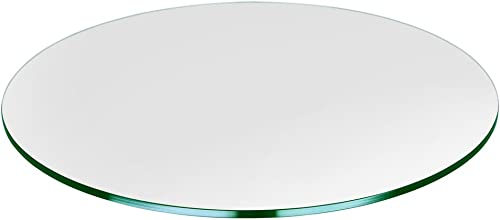 TroySys Round Glass Table Top Clear Tempered 3/8″ Thick Gla