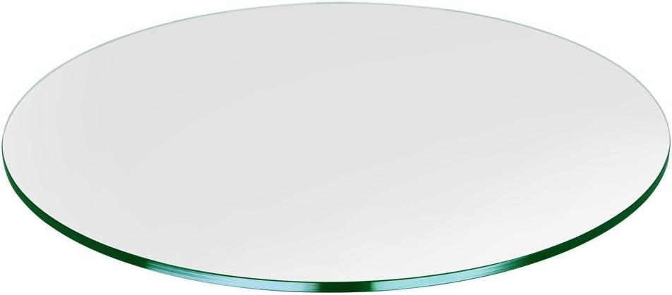 Troysys Glass Table Top Flat Polish Edge Tempered Glass 24 L Round Furniture Amazon Com