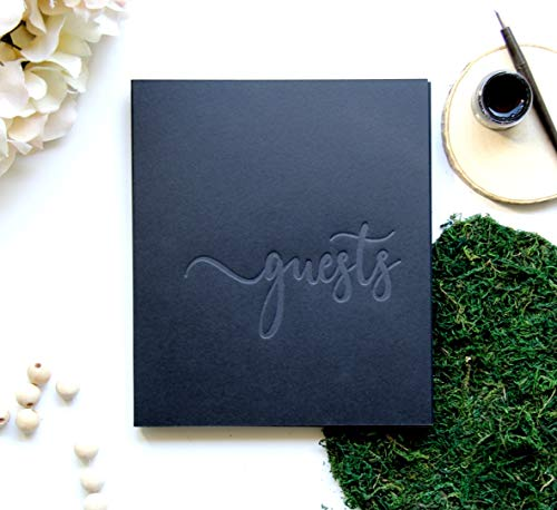 Photo Wedding Guest Book Alternative, 130 Black Pgs, 8.5x7 inch. Wedding Guestbook with Blank Pages, Instax Guest Book for Wedding Photo Booth Props Black Guest Book Wedding (Black)