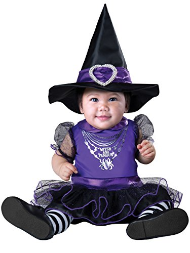 InCharacter Costumes Baby Girls' Witch and Famous Costume, Black/Purple, X-Small (Easy Witch Costume)