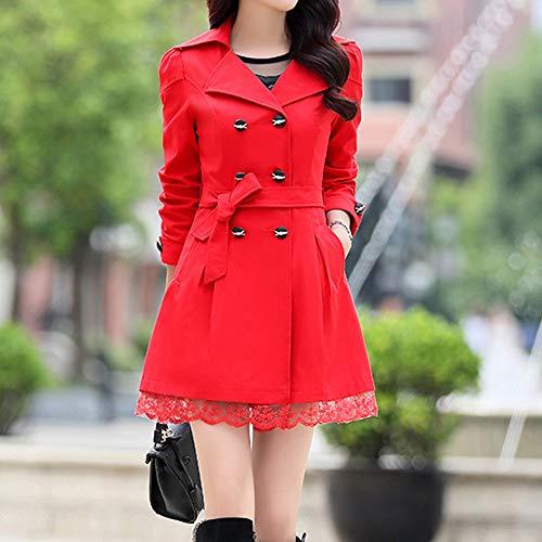 De Grueso Rojo Elegante Mujer Mujeres Abrigos Luckycat Invierno BBnWwCUrq