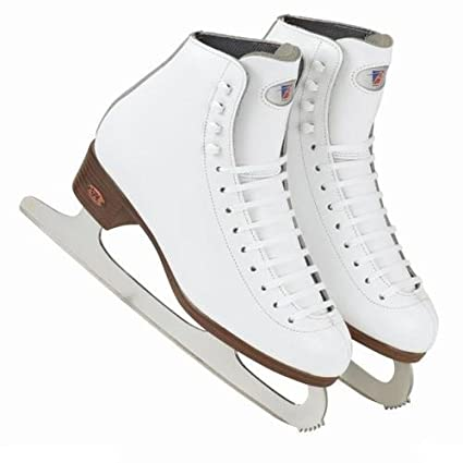 Riedell Model 17 Girls Figure Skates White Size 10 1 2 Med With Sapphire Blace