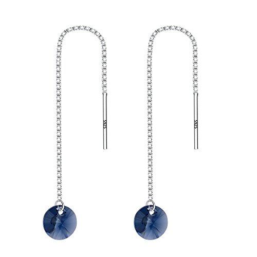 EVER FAITH 925 Sterling Silver Round Austrian Crystal Simple Ear Threader Dangle Earrings Denim ()