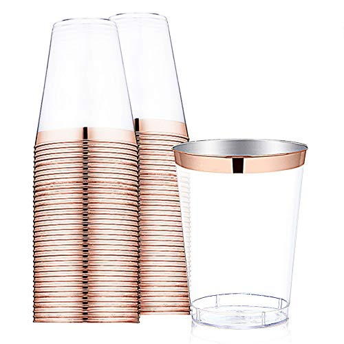 9 oz Rose Gold Plastic Cups -Disposable Clear