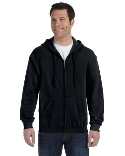 Gildan Heavy Blend Unisex Adult Full Zip Hooded Sweatshirt Top (L) (Black) (Cotton Blend Zip Sweatshirt)