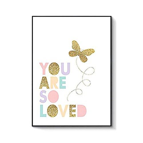 ink2055lindo rosa unicornio conejo letras carteles lona pintura Kid 's sala de estar, decoración de la pared, 3#, 40x50cm