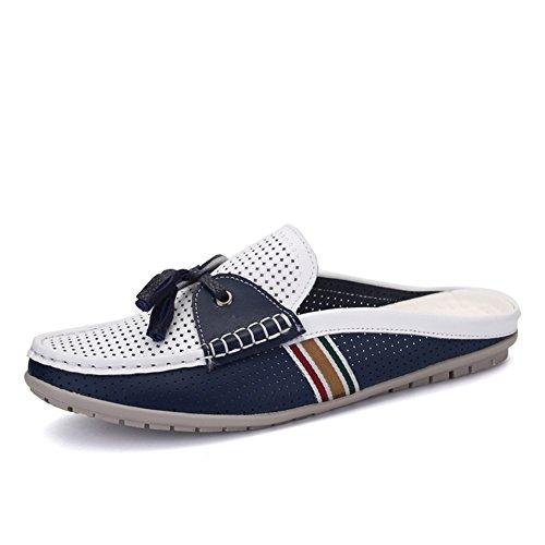 Duoduo Men's 8906 Genuine Leather Open Back Mule Slide Shoes,Blue,9.5D(M) US by Duo (Image #1)