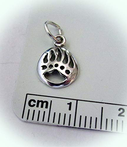 Tiny 11x8mm Sterling Silver Cut Out Bear Claw Paw Mascot Charm Vintage Crafting Pendant Jewelry Making Supplies - DIY for Necklace Bracelet Accessories by CharmingSS ()