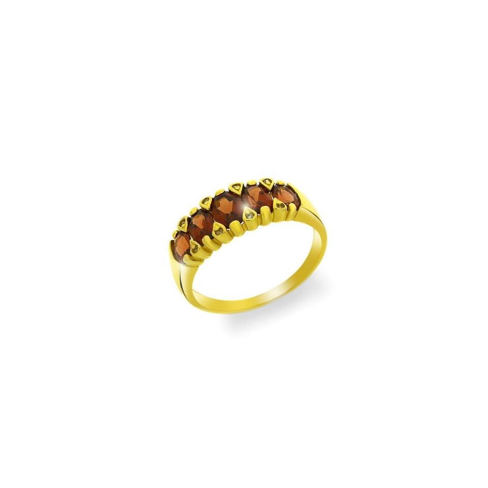 9ct Yellow Gold Garnet & Diamond Ring Size 6