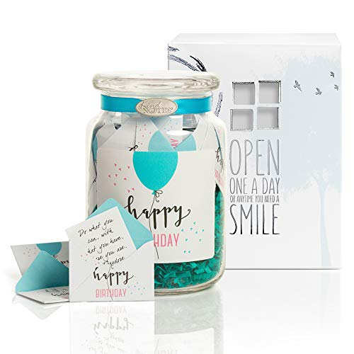 KindNotes Glass Keepsake Gift Jar with Inspirational Messages - Birthday Balloon Simple Birthday