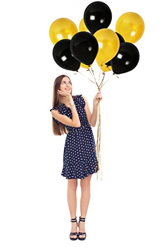 - Treasures Gifted Gold Bachelorette Balloons and Pearl Black Metallic Party Decorations for Class or Family Reunion Fancy Birthday Anniversary Graduation Baby Shower Pack of 100