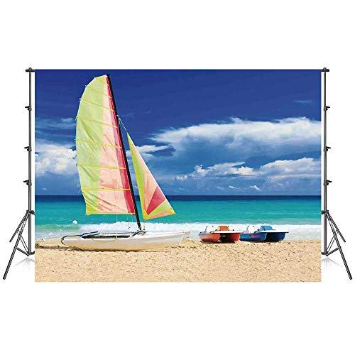 Apartment Decor Stylish Backdrop,Exotic Cuban Beach with Wind Surfing Boat and Waves Tropic Coastal Picture for Photography Festival Decoration,59''W x 39''H - Beans Coastal