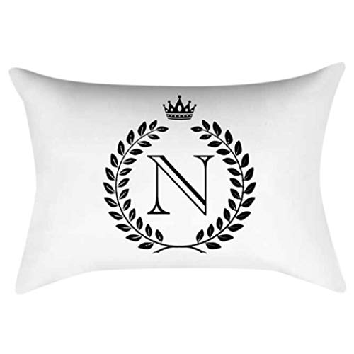 TeemorShop 30x50cm Rectangle Throw Pillow Case Classic Black White English Alphabet Letter Crown Double Sided Printed Cushion Cover Kids Bedroom Decorative (N)