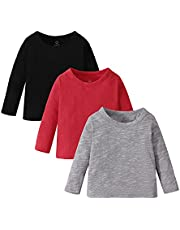 OPAWO 3-Pack Baby Cotton Solid T-Shirts, V-Neck, Short/Long Sleeve, Unisex Boys Girls Tees, Black/White/Gray