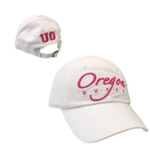 Oregon Ducks Baseball - Oregon Ducks Womens White Cotton Baseball Hat with Pink Embroidery Adjustable Buckle