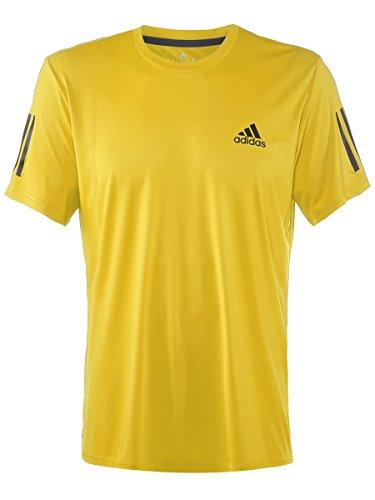 adidas Men's Tennis Club Tee, Equipment Yellow /Black/Black/White, Large
