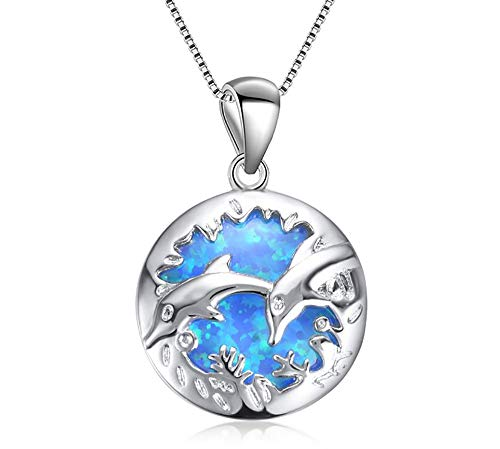 ROSE CY RC Women Girls Jewellery Blue Opal Double Dolphin Circle 925 Sterling Silver Pendant Necklace with Curb Chain 18In ()