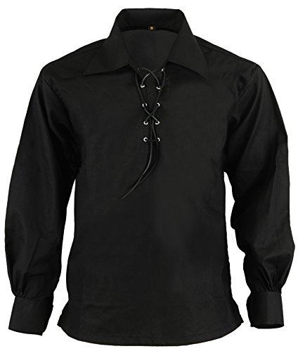 Hamilton Kilts Black Scottish Highland Jacobite Jacobean Ghillie Kilt Shirt, XXL by Hamilton Kilts