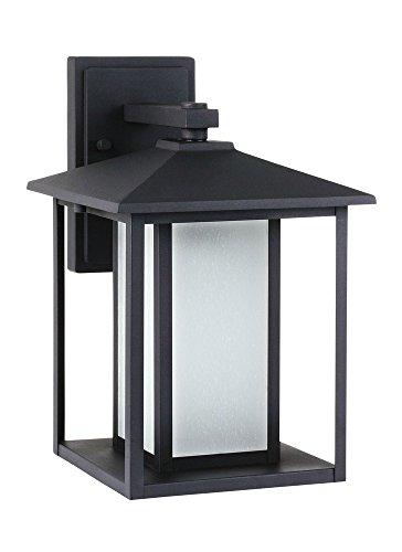Sea Gull Lighting 89031EN3-12 Hunnington One-Light Outdoor Wall Lantern with Etched Seeded Glass Panels, Black (14' Width Flush Mount)