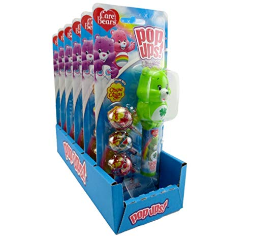 Care Bears Candy - Flix Candy Care Bears Pop Ups Lollipops with 3 Assorted Flavor Chupa Chups, Pack of 6 Blister Pack
