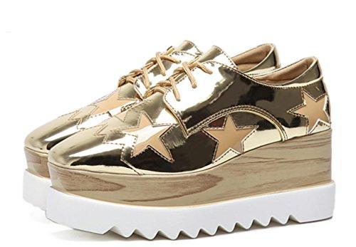 2017 Femmes Loose Casual Chaussures Femmes XDGG 40 gold Chaussures talon unique épaisses Chaussures B5YA6qw