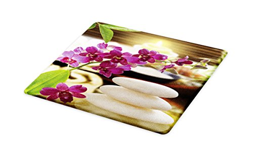 Lunarable Spa Cutting Board, Refreshing Spa Day with Stones Herbal Salts and The Exotic Flowers Print, Decorative Tempered Glass Cutting and Serving Board, Large Size, Purple White and Green by Lunarable (Image #1)