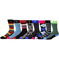 Noble Stitch - Bamboo Assorted Pack of 8 Colorful Mens Dress Socks (Antibacterial, and odor Resistant)
