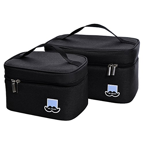 LUXINYU Insulated Lunch Box Bento Bag Thermal Cooler for Office/School/Picnic, Set of 2, Black