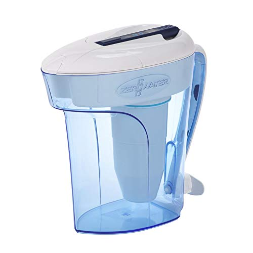 Zerowater Pitcher - ZeroWater 12-Cup Ready-Pour Pitcher with Free TDS Meter (Total Dissolved Solids) ZD-012RP
