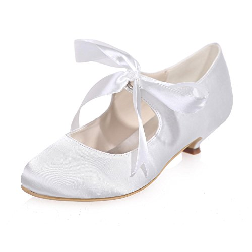 Night 05 Chaussures Pompes De 9001 Party Mariage More Femmes Mid Pour silk White Couleurs amp; f88OrZ