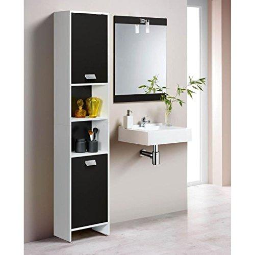 TOP Colonne de salle de bain L 40 cm - Blanc et noir mat AUCUNE 80035512