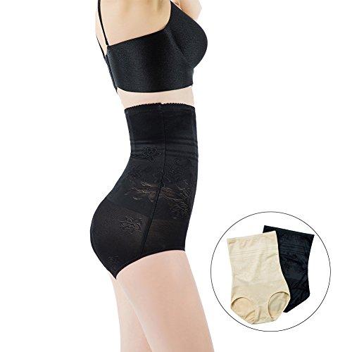 ShangMu Women's High Waist Shapewear Seamless Anti Bacterial Shaper Panty (XS, Black)