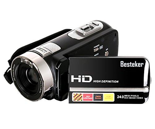 Besteker Protable FHD1080p Max 24,0 Megapixeln 16fach Digitalzoom Video Infrarot-Nachtsicht -Camcorder DV 3.0 TFT LCD Rotation Touch Screen Video Recorder und Funktion Gesichtserkennung , Attach (Remote Control & Weitwinkel -Objektiv)