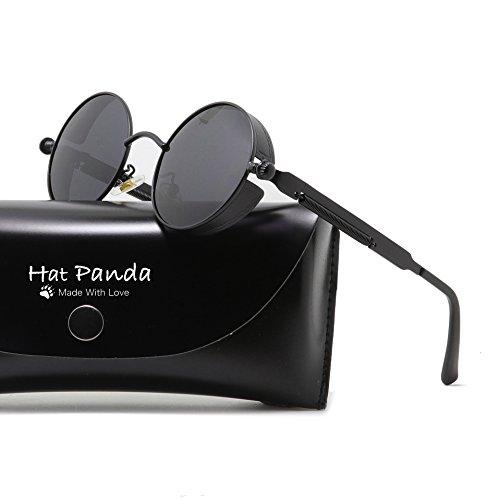 Round Polarized Steampunk Sunglasses Gothic John Lennon Sunglasses For Men And Women (Black & Clear Grey, - Lennon Jon Glasses