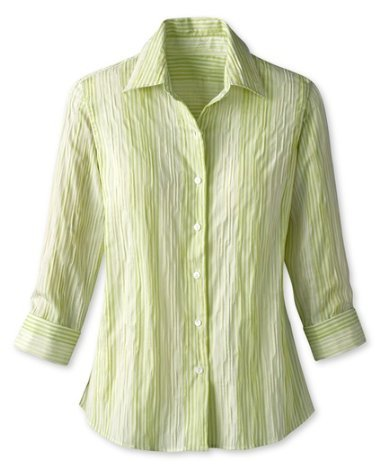 Coldwater Creek Crinkle Stripe Shirt, Green, Extra Small (4)